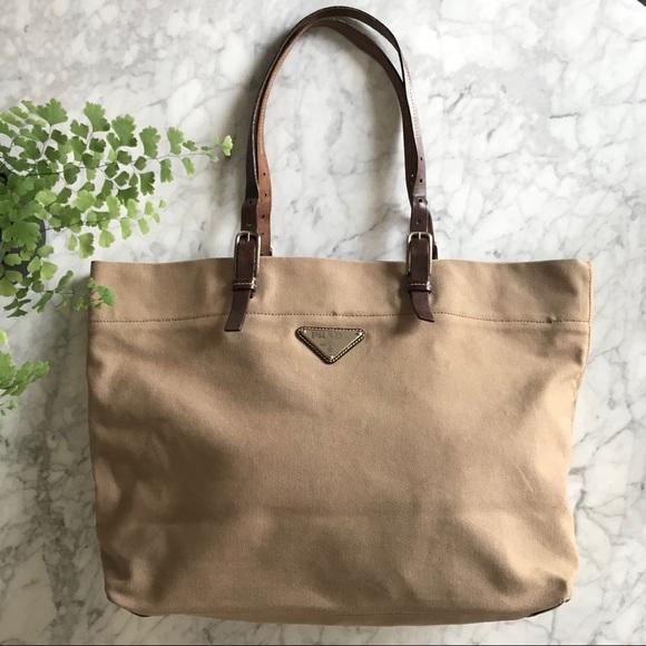 b52a33141c94 Prada Canvas and Leather Tote Bag. M_5c01646e3c98444fd50030ca